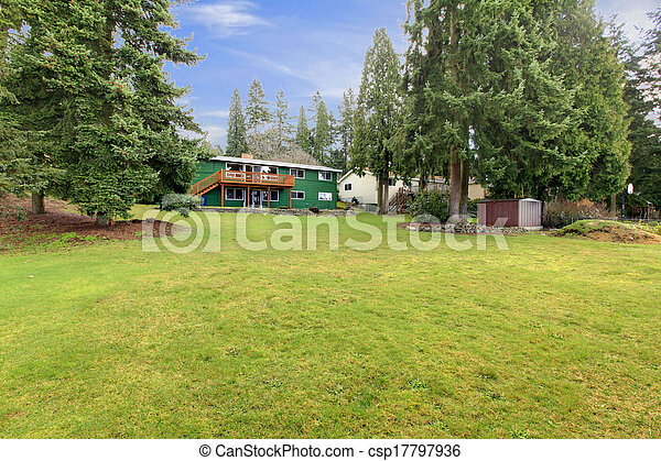 Large two story green house - csp17797936