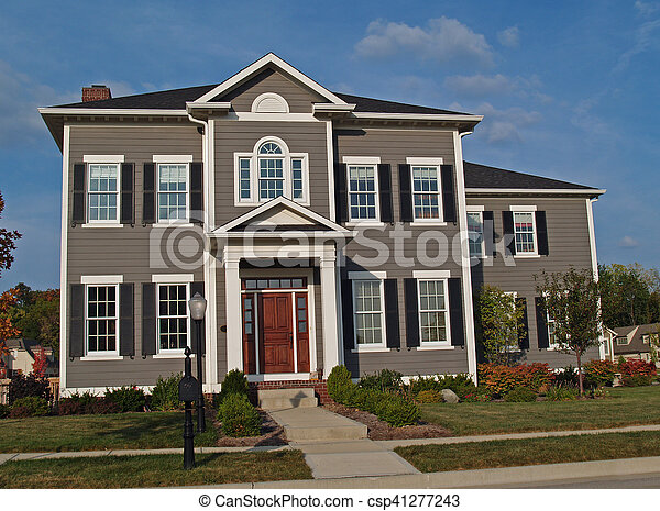 Large Two-Story Tan Home - csp41277243