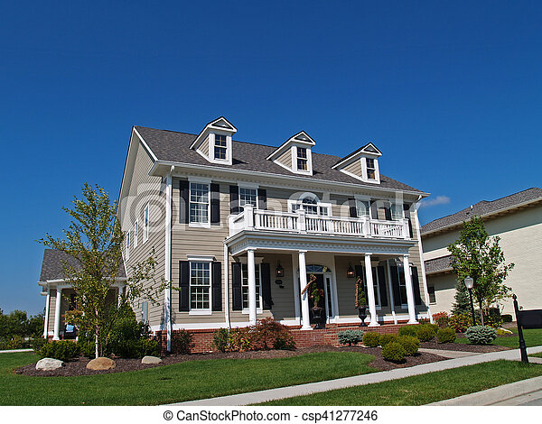 Large Two-Story Tan Home - csp41277246