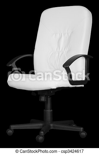 Large white office chair isolated on black - csp3424617