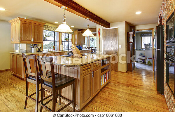 large wood kitchen with hardwod floor and wood beam golden warm rh canstockphoto com