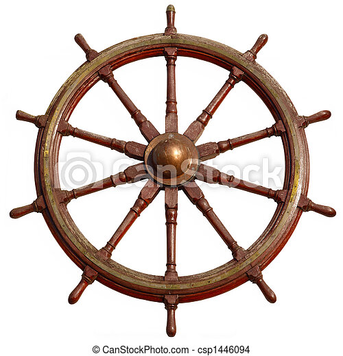 Large wooden ship wheel, isolated on white. - csp1446094