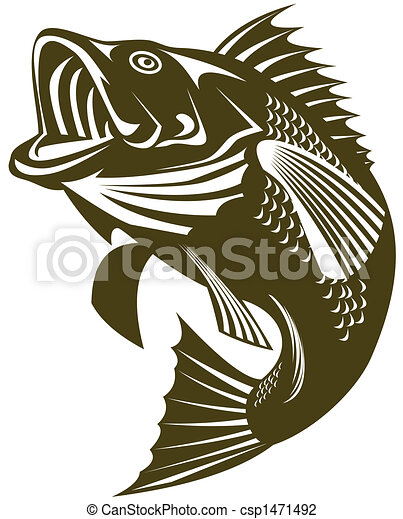 largemouth bass illustratoion of a largemouth bass jumping rh canstockphoto com High Resolution Largemouth Bass Fishing Largemouth Bass Cartoon