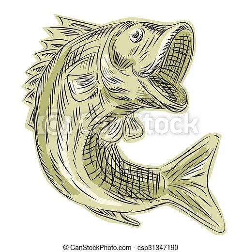 Largemouth Bass Fish Etching Etching Engraving Handmade Style