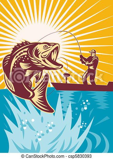Largemouth Bass Fish Fishing - csp5830393