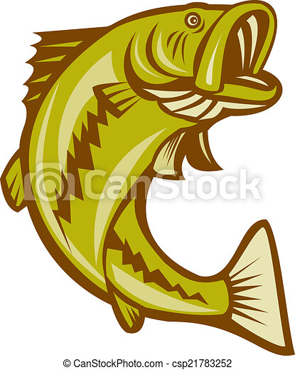 largemouth bass jumping cartoon illustration of a largemouth bass rh canstockphoto com largemouth bass clip art free Largemouth Bass Wallpaper