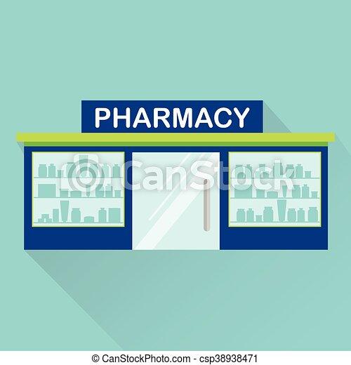 Farmacia, icono de vector de farmacia con sombra larga - csp38938471