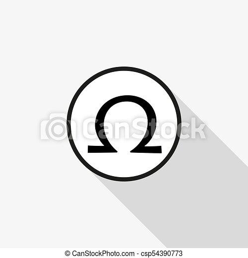 El signo de Vector Omega con una larga sombra en el fondo - csp54390773