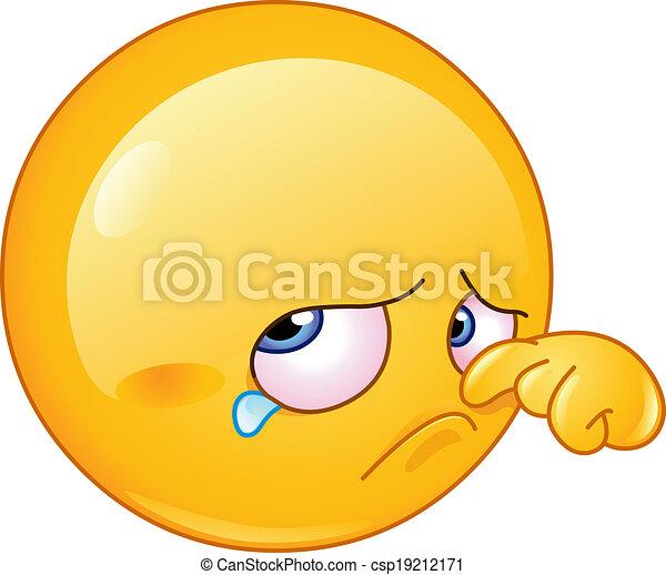 larme, emoticon, essuyer - csp19212171