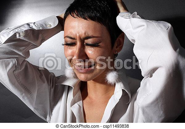 larmes, femme, dépression, triste - csp11493838