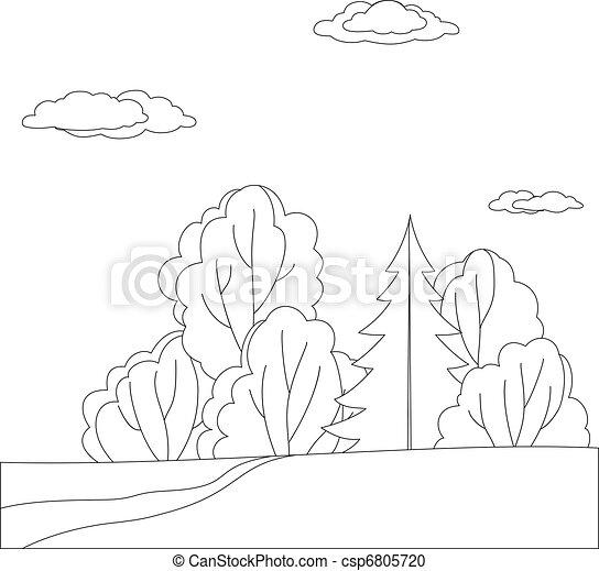 las, krajobraz, kontury - csp6805720