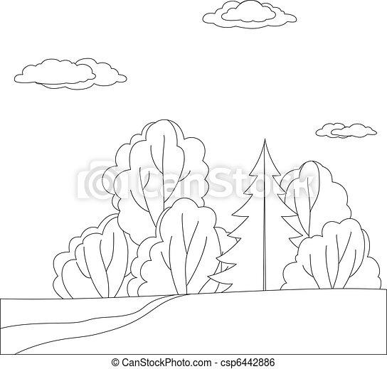 las, krajobraz, kontury - csp6442886