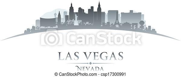 Las Vegas Nevada City skyline silueta fondo blanco - csp17300991