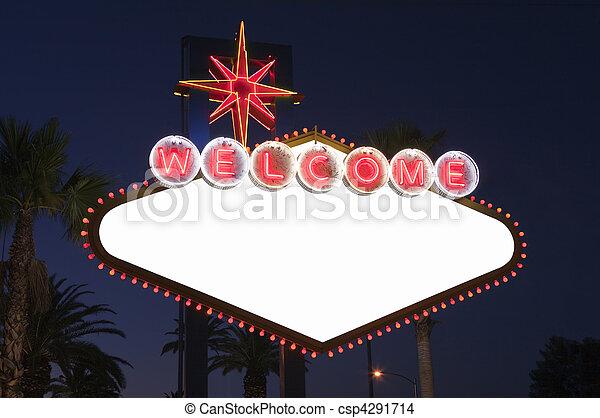 Las Vegas Blank Sign at Night - csp4291714