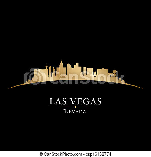 Las Vegas Nevada city skyline silhouette black background  - csp16152774