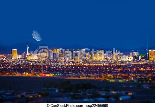 Las Vegas Strip and Moon - csp22455668