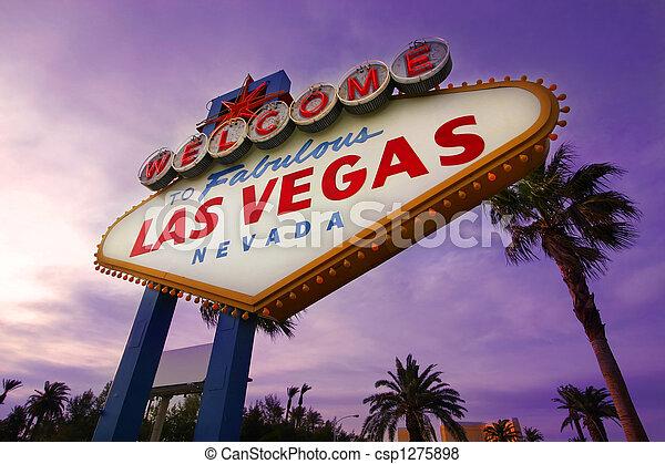 Las Vegas Willkommensschild bei Sonnenuntergang 1 - csp1275898