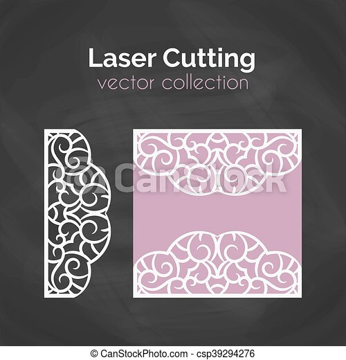 Laser Cut Card Template For Laser Cutting Cutout Illustration With Abstract Decoration Die Cut Wedding Invitation Card