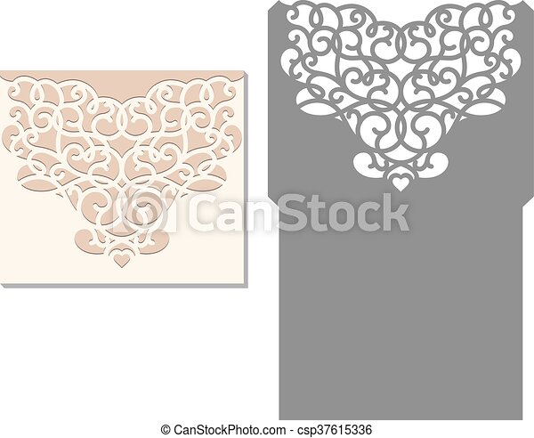 Laser cut envelope template for inv. Laser cut invitation card ...
