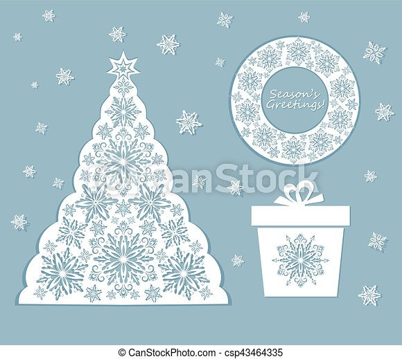 Laser cut out xmas set with snowflakes - csp43464335