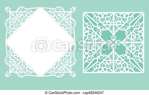 Laser cutting template. Square laser cut wedding invitation template ...