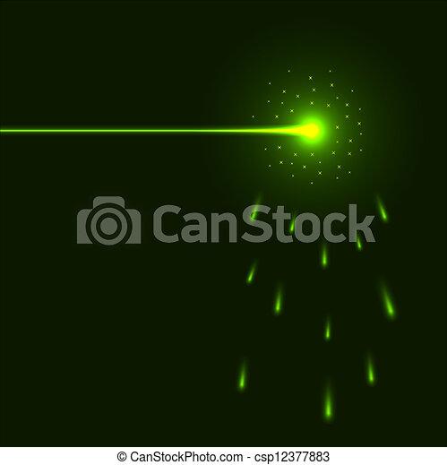 laser, space., faisceau, arrière-plan vert, copie - csp12377883