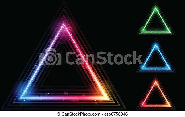 laser, triangolo, bordo, set, neon - csp6758046