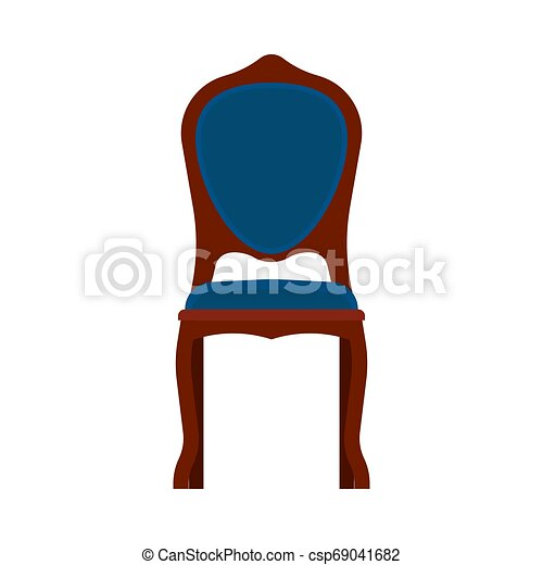 ?lassic chair front view comfortable elegance brown stylish furniture vector icon. Vintage luxury seat interior room - csp69041682