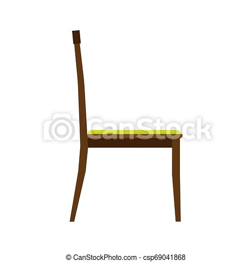 ?lassic chair side view comfortable elegance brown stylish furniture vector icon. Vintage luxury seat interior room - csp69041868