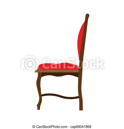 ?lassic chair side view comfortable elegance brown stylish furniture vector icon. Vintage luxury seat interior room - csp69041869