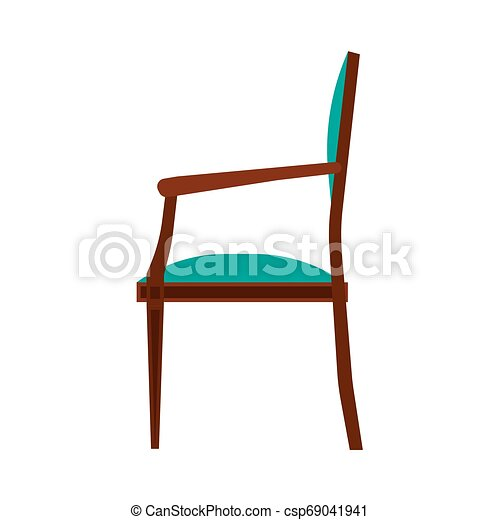 ?lassic chair side view comfortable elegance brown stylish furniture vector icon. Vintage luxury seat interior room - csp69041941