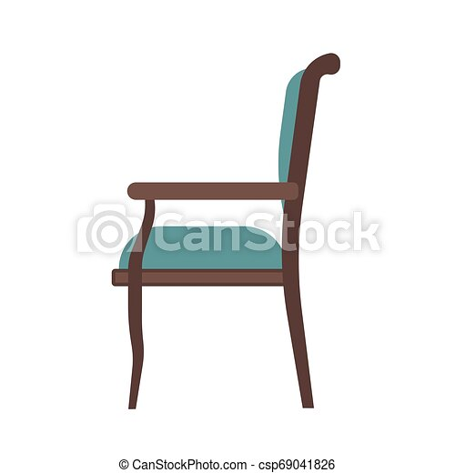?lassic chair side view comfortable elegance brown stylish furniture vector icon. Vintage luxury seat interior room - csp69041826