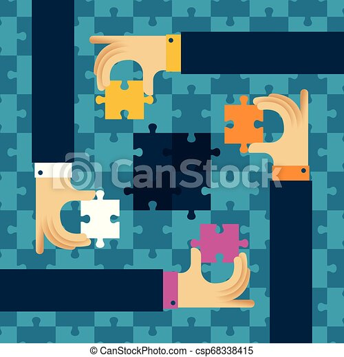 Last detail teamwork vector concept with jigsaw puzzle in flat style - csp68338415