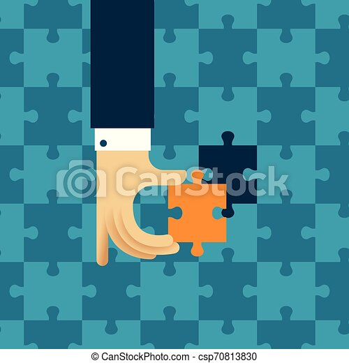Last detail vector concept with jigsaw puzzle in flat style - csp70813830