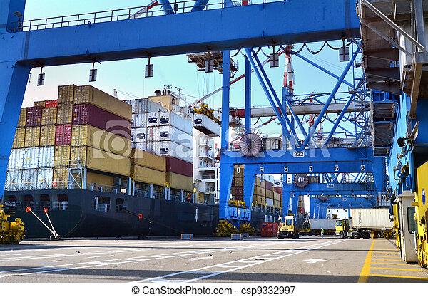 last, -, fragt, forsendelse, søhavn - csp9332997