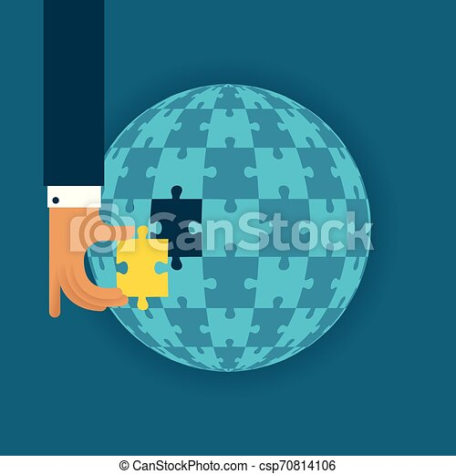 Last global detail vector concept with jigsaw puzzle in flat style - csp70814106