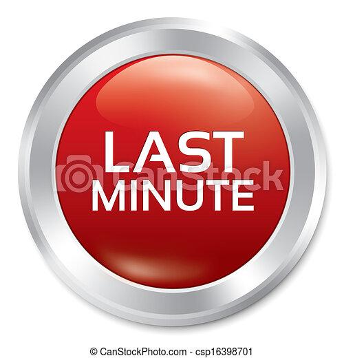 Last minute button. Sale red round sticker. - csp16398701