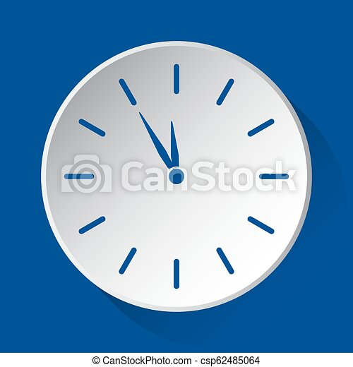 last minute clock - blue icon on white button - csp62485064