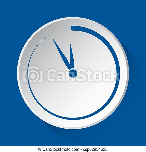 last minute clock, blue icon on white button - csp62954625