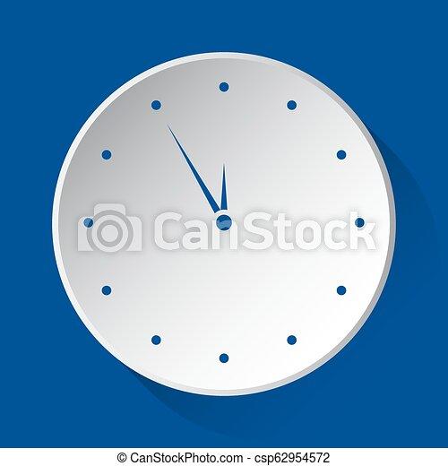 last minute clock - blue icon on white button - csp62954572