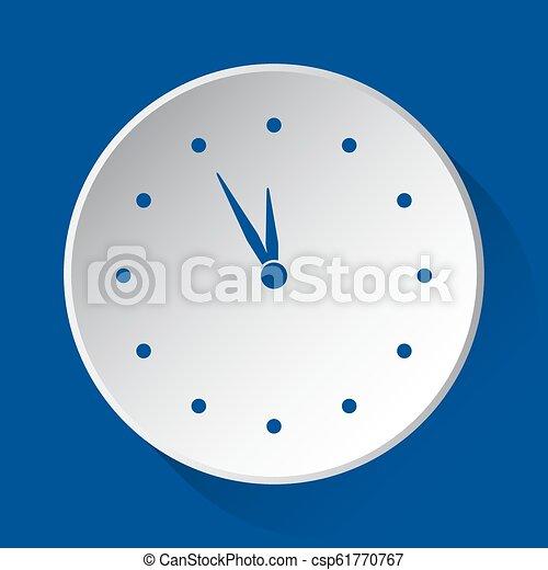 last minute clock - simple blue icon, white button - csp61770767