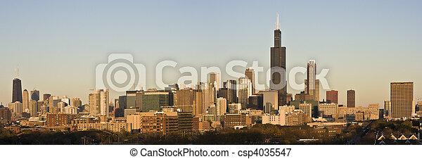 Last rays of sun in Chicago - csp4035547