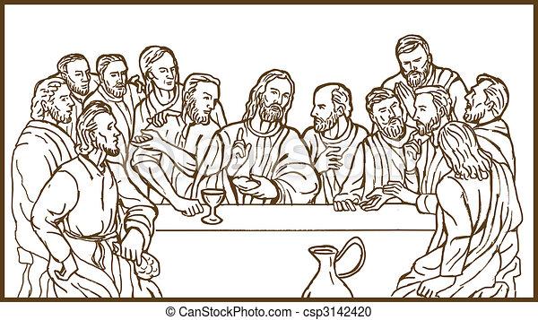 last supper of Jesus Christ the savior and his discplles - csp3142420