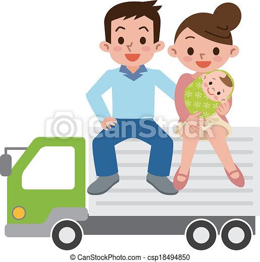 lastbil, familie, glade - csp18494850