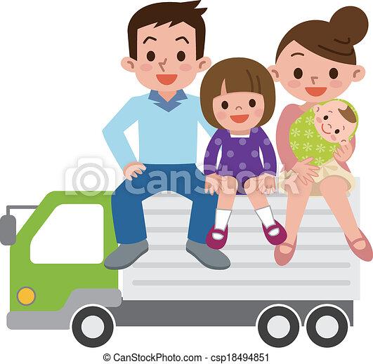 lastbil, familie, glade - csp18494851