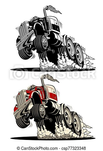 lastbil, halv-, tecknad film - csp77323348