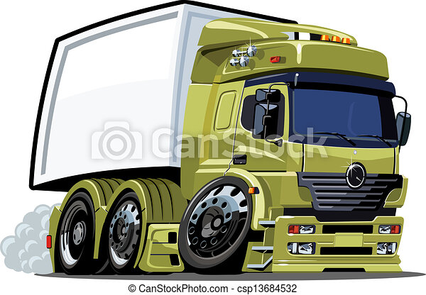 lastbil, tecknad film - csp13684532