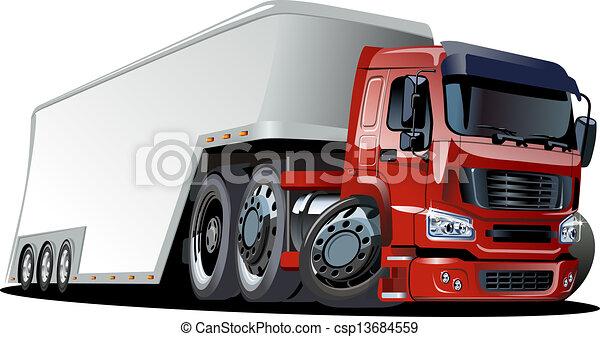 lastbil, tecknad film, halv- - csp13684559