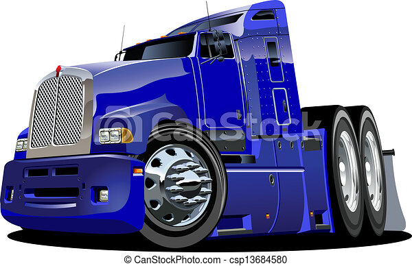 lastbil, tecknad film, halv- - csp13684580