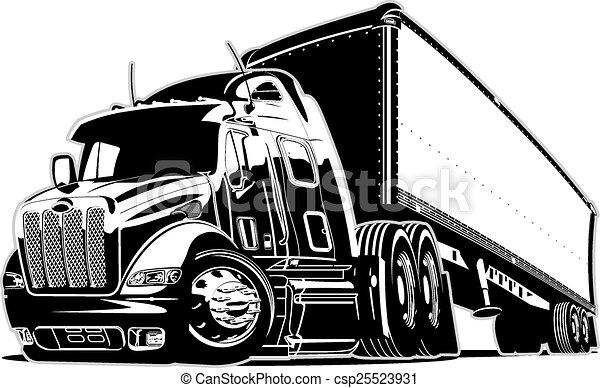 lastbil, tecknad film, halv- - csp25523931